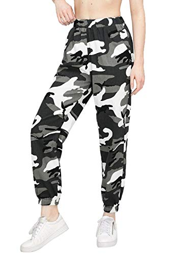 Women Cargo Trousers Casual Hip Hop Pants Military Army Combat Camo Hiking Leggings (Grey, M)
