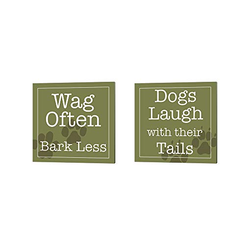 (Wag Often Bark Less & Dogs Laugh with Their Tails by Wild Apple Portfolio, 2 Piece Canvas Art Set, 10 X 10 Inches Each, Word Art)