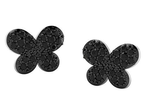 Libertini Boucle d'oreille argent 925 serti de Diamant en forme de Papillon