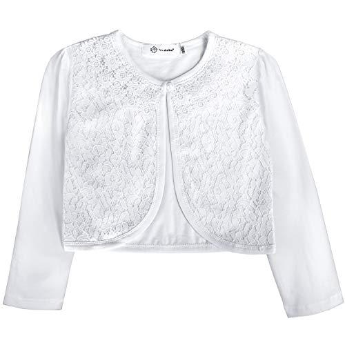 Acecharming Girls Long Sleeve Bolero Cardigan Shrug Beaded Flower Jacket Shrug Short Cardigan Dress Cover Up (Lace White, 9-10Y)