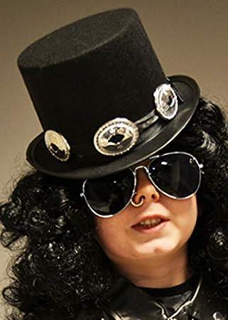 Magic Box Sombrero de Copa Estilo Slash Negro Rockstar Slash de los años Ochenta