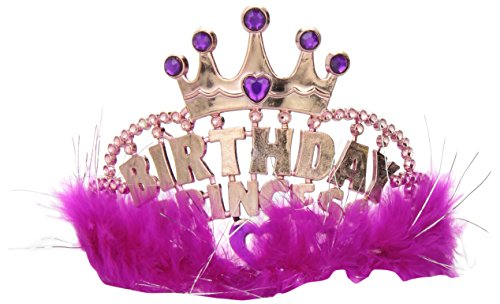 Birthday Tiaras (One Rhode Island Novelty Birthday Marabou Princess Pink Tiara)