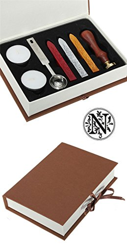 Gift Pro European Retro Wooden Alphabet Letter Initial Wax Seal Stamp Kit Vintage Letter / Envolop Wax Sealing Set with Gold Red Silver Sticks (N)
