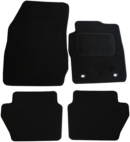 Black 4 Pieces JVL Fully Tailored Car Mat Set with 4 Oval Clips