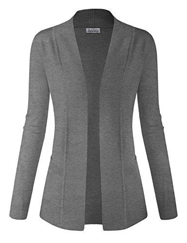 Sweater Jacket (BIADANI Women Classic Soft Long Sleeve Open Front Cardigan Sweater Heather Grey 2 Large)