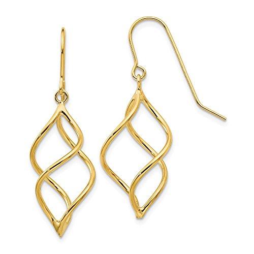 earrings : Yellow-gold 14k Polished Short Twisted Dangle Earrings by JE