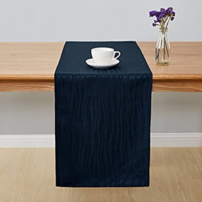Deconovo Jacquard Damask Table Runner Vibrant Waves Wrinkle and Water Resistant Spill-Proof Decorative Dining and Wedding Runners 14 x 72 inch Navy Blue - Crafted of 100 percent imported high quality soft and smooth Jacquard Damask polyester fabric These table runners are available in 2 sizes of rectangular shapes (14 x 72 inches and 14 x 108 inches). Matching napkins and tablecloths are available This exclusive collection is designed with a wrinkle resistant, liquids and spill resistant fabric which creates convenience, makes cleaning easy and help protect your tables and furniture - table-runners, kitchen-dining-room-table-linens, kitchen-dining-room - 41iT6 5n3GL. SS400  -