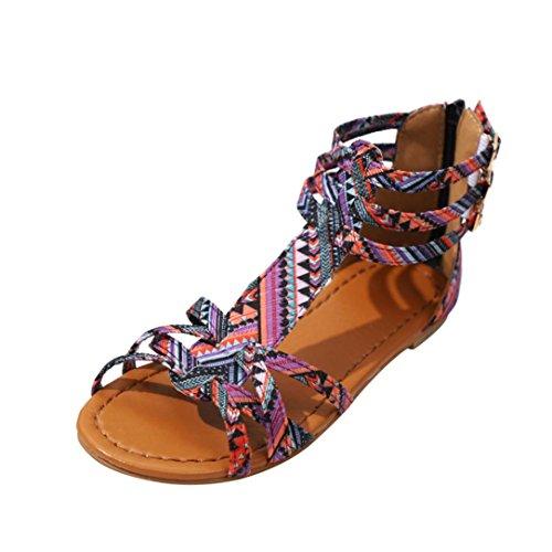 Ansenesna Sandalen Damen Sommer Flach Bunt Boho Vintage Schuhe Offen Reißverschluss Stoff Comfort Sommerschuhe Lila
