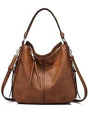 Realer Women Handbags Fashion Hobo Bags Faux Leather Long Strap Shoulder Bag Ladies Synthetic Large Tote Bag Crossbody Bags Brown