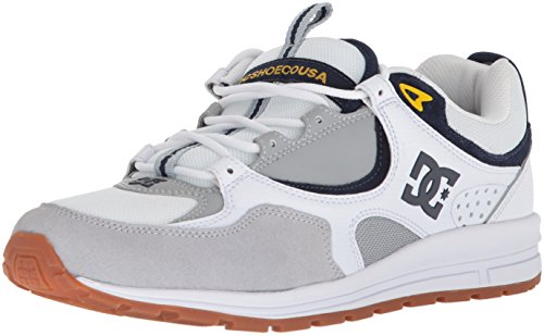 DC Men's Kalis Lite Skate Shoe, White/Grey/Yellow, 9 D US (Skateboard Yellow Shoe)