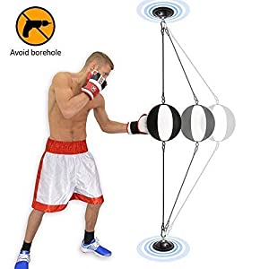 COSA MEJOR Double-End Bag Punching Bag, Speed Ball with Heavy-Duty Rubber Ropes Install Anywhere, Speed Bag for MMA/Boxing/Muay Thai Training 3