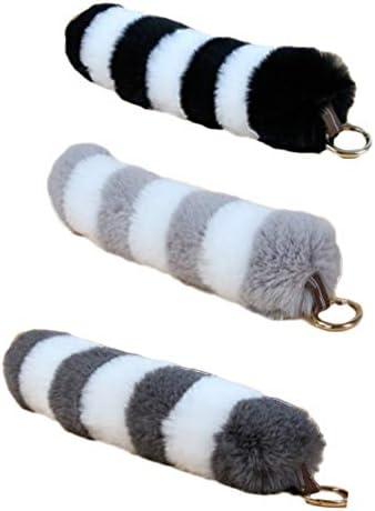 NUOBESTY 3 Stück Schwanz Kunstpelz Keychain Plüsch Schwanz Anhänger Cosplay Spielzeug Tasche Geldbörse Anhänger Quaste Schlüsselanhänger Haken Dekor Tasche Ornamente Geschenk