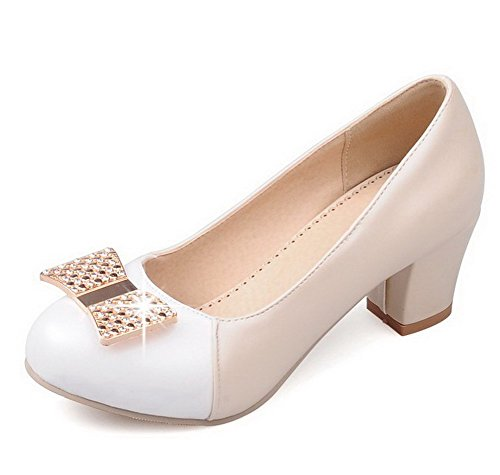 VogueZone009 Women's Round Closed Toe Kitten-Heels Blend Materials Assorted Color Pumps-Shoes Beige