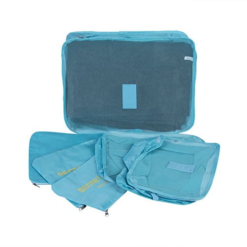 Waterproof 5-Piece Packing Bags (Sky Blue) - 7
