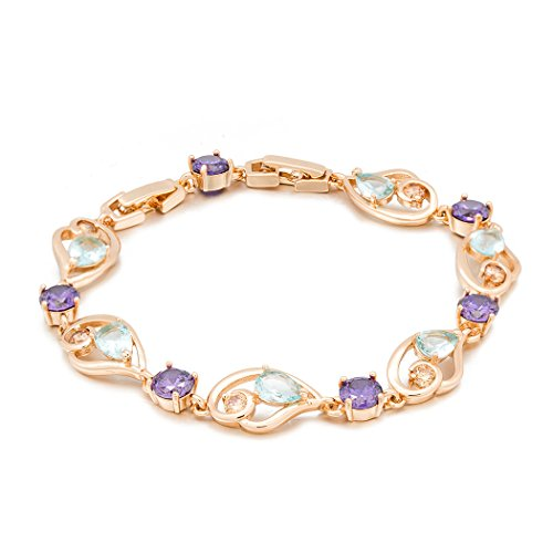 [Real Spark(TM) Women 18K Gold Plated Purple Clear Rhinestone Accented Link Bracelet] (Costumes N Parties Singapore)