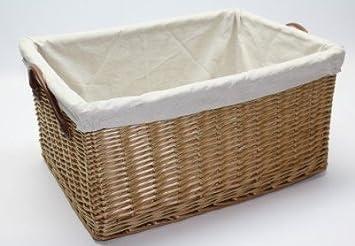 Elegant Deep Lined Willow Wicker Storage Basket L57XW42XH28 CM