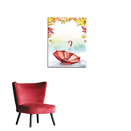 ndoor/Living Room Red Umbrella in a Puddle and Frame of Maple Leaves Watercolor Hand-Drawn Illustration Mural 32