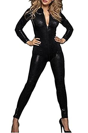 f45b4212d63 Amour- Sexy Gothic Punk Pvc-like Wetlook Black Catsuit Jumpsuit Playsuit  (P7114 Snake Skin)