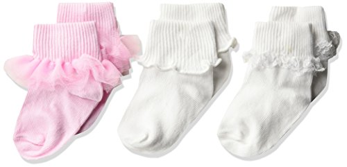 Jefferies Socks Girls' Ruffle/Ripple Edge/lace Baby Socks 3 Pack, Pink/White, Infant ()