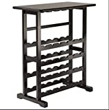 Wood Wine Rack 24 Bottle Glass Hanger Espresso Holder Storage Shelf Display