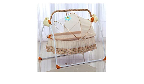 amazon com khaki electric big auto swing bed baby cradle spaceamazon com khaki electric big auto swing bed baby cradle space safe crib infant rocker cot mat baby