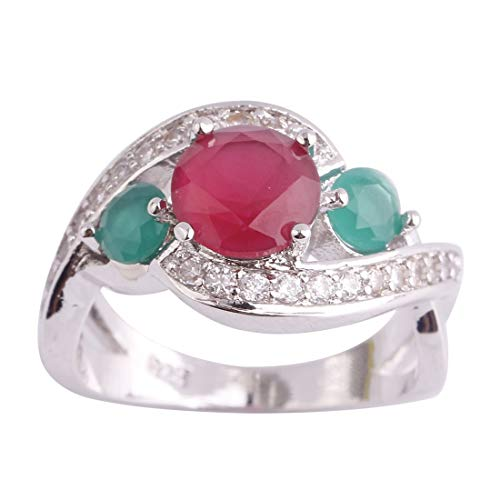 (Mavonne 925 Sterling Silver Created Pink Tourmaline Filled Infinity Band 3 Stone Engagement Ring for Women)