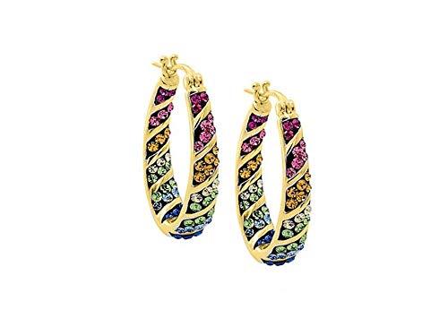 Womens Crystal Inside Out Oval Shape Hoop Earrings, Fashion Hoop Earrings For Women, Womens Hoop Earrings (GOLD RAINBOW)