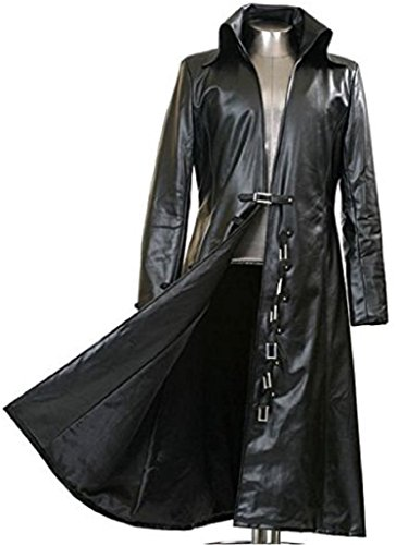 Black coat in leather long slut are