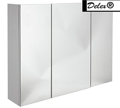 Delex® High Quality 3 Door MDF Mirrored Self-Assembly. Bathroom Cabinet