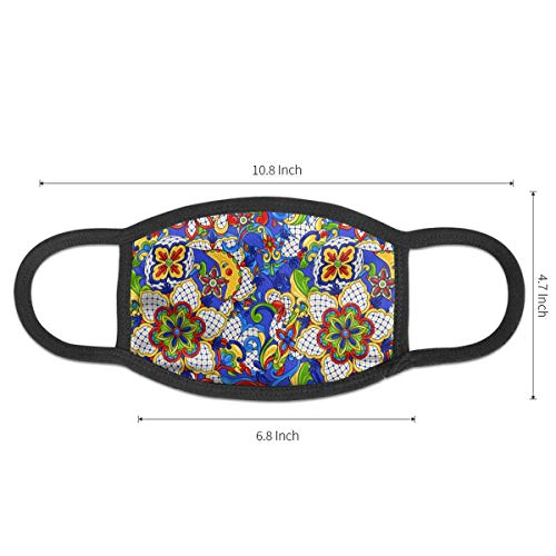 Mexican Traditional Decorative Objects Pattern Mouth Mask,Dust-Proof Face Masks for Girls Boys,Washable and Reusable Black