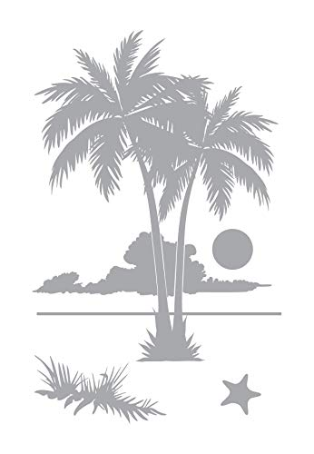 2 Palms Sunset - Coastal Design Series - Etched Decal - For Shower Doors, Glass Doors and Windows - 27