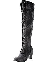 Women's Chunky Heel Lace up Over-The-Knee High Riding Boots
