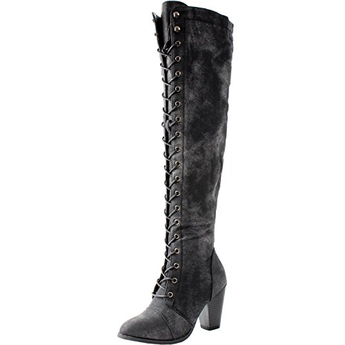 Classy High Heels (Forever Camila-48 Womens Chunky Heel Lace Up Over The Knee High Riding Boots,Black,5.5)