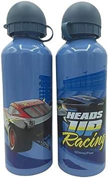 ML Una Botella de Agua de Aluminio de Cars, cantimplora térmica a Prueba de Fugas sin BPA para Levar a la Escuela y Deportes el Termo 500ml para niños y niñas (Azul)