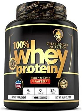 CHALLENGER NUTRITION -100 Whey Protein Powder. Strawberry – 10 Pound LBS. Best Tasting with 24g Protein per Serving. for Athletes, Bodybuilding, Muscle Building Faster Recovery