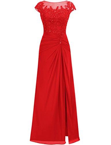 Rot Damen Festkleider Chiffon Lang Hochzeitskleider Abendkleider Ballkleider Spitze xPBn7cUUf