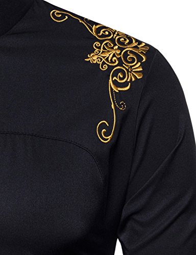 e0b93bbd1 Whatlees Mens Hipster Casual Slim Fit Long Sleeve Button Down Dress Shirts  Tops with Embroidery
