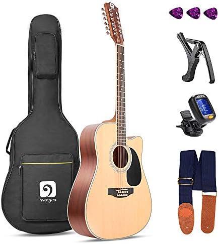 Vangoa 12 String Acoustic Guitar Cutaway Spruce Top & Mahogany Sides 41 Inch Full-sizeBeginner Kit Natural / Vangoa 12 String Acoustic Guitar Cutaway Spruce Top & Mahogany Sides 41 Inch Full-sizeBeginner Kit Natural
