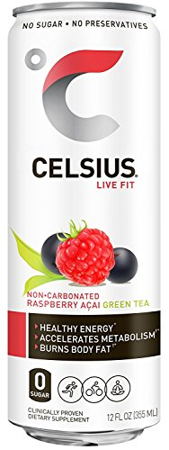 Celsius Raspberry Acai Green Tea yhJJkt, 12-Ounce Cans (Pack of 48) by CelziuR Inc.