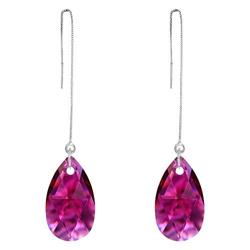 EVER FAITH 925 Sterling Silver Simple Tear Drop Daily Ear Threader Dangle Earrings Fuchsia Adorned with Swarovski crystals ()