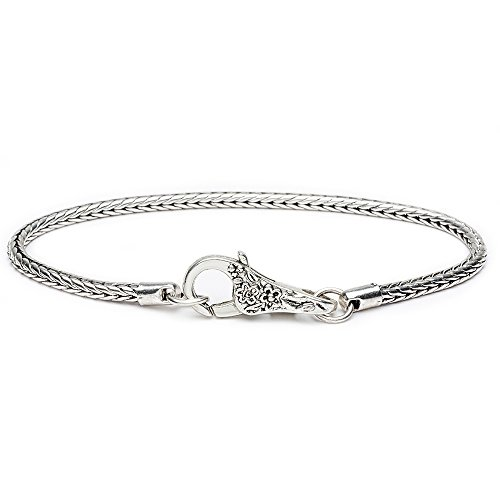 Floral Snake Chain Silver Charm Bracelet Fit European Beads Lobster Heart Clasp 5 PCS By eArt