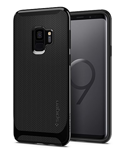 Spigen Neo Hybrid Galaxy S9 Case with Flexible Herringbone Pattern Protection and Reinforced Hard Bumper Frame for Samsung Galaxy S9 (2018) - Shiny Black