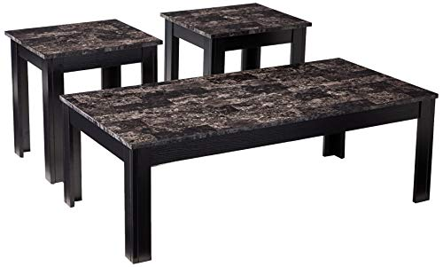 Coaster Home Furnishings 700375 3-Piece Occasional Table Set with Marble-Looking Top, Black