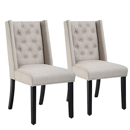 Dining Chairs Set of 2 Dining Room Chairs for Living Room Kitchen Chairs Parsons Chair Mid Century Modern Chair upholstered for Restaurant Home (Beige)
