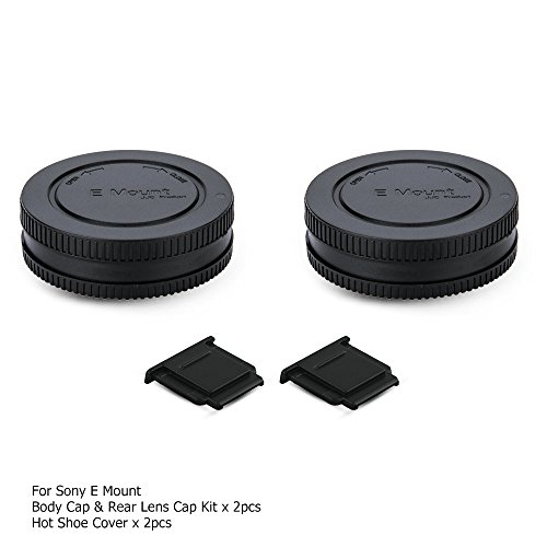Rear Lens Cap Cover & Body Cap Cover Kit with Hot Shoe Cover for Sony A6000 A5100 A6300 A6400 A6500 A5000 A7 A7II A7III A7R A7RII A7RIII A7SII A7S A9 A3000 NEX-6 and More Sony E Mount Camera & Lens