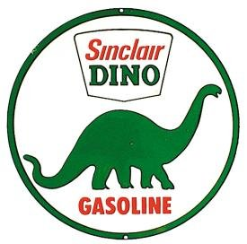 Sinclair Dino Gasoline Tin Sign 12 x 12in Gasoline Tin