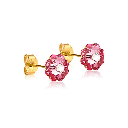 - 6mm Stud Earrings for Women & Girls| Swarovski Flower Crystals, 14K Gold Plated| Made With Hypoallergenic, Surgical Stainless Steel| Jewelry Gifts by Clecceli (Pink & Clear)