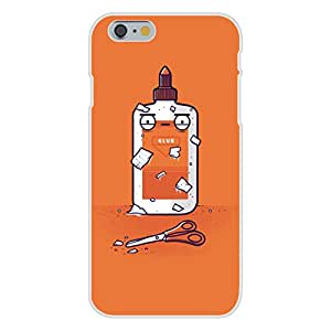 """Apple iPhone 6+ (Plus) Custom Case White Plastic Snap On - """"Glue Do You Think You Are?"""" Craft Pun"""