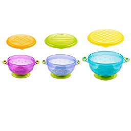 LianLe Pack of 3 Spill Proof Stay Put Baby Suction Bowl with Seal-easy Lids
