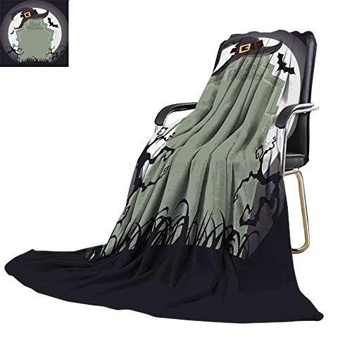 (UGG Throw blanketflannel Throw blanketCreepy Tombstone and Black Witch hat Halloween Party Decoration Vector)
